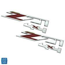 2000-16 Silverado / Sierra Z71 4x4 Red & Chrome Emblem Pair