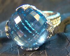 Signed Judith Ripka Sterling Silver LARGE Blue Topaz CZ DQ Cocktail Sz 7 Ring