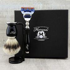 Barber Salon Silver-tip Hair Brush & 5 Edge Razor Shave Kit Luxury Kit In Black