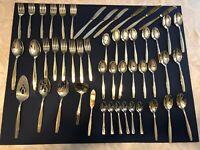 Vintage 50pc Silver International Gold Americana Heritage Flatware w/Case