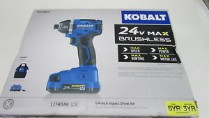 "Kobalt  24V Max 1/4"" Brushless Impact Driver Drill  Battery, Charger & Case"