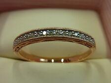 Nuova 9 Carati Oro Rosa Anello Diamante Half Eternity Misura O