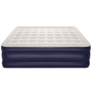 18 Inch Air Mattress with Built In Pump Outdoor Camping Durable King Dark Blue