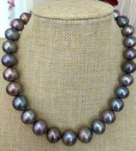 Gorgeous 9-10mm AAA+ tahitian Peacock blue round pearl necklace 18inch 14k gold