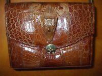 Gorgeous vintage alligator shoulder bag tote shopper school crossbody handbag