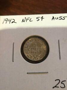 Newfoundland silver 5 Cents 1942 AU55 Pre-Confederation