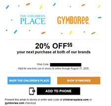 THE CHILDREN'S PLACE GYMBOREE 20% off code coupon Exp 11/30/2020