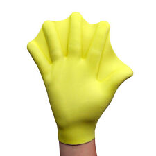Yellow Soft Silicone Webbed Swimming Surfing Diving Paddle Gloves Water Sports