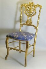 Fine 19th C. Antique Gold Leaf Hand-Carved Side Chair  c. 1850