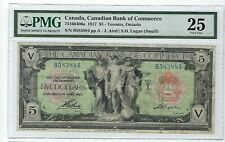 1917 $5 The Canadian Bank of Commerce Currency Toronto Pmg Vf 25