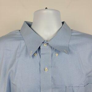 Jos A Bank Traveler Collection Light Blue Mini Check Mens Dress Shirt Size 20-35