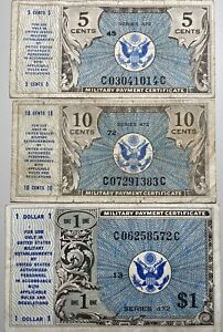 Military Payment Certificates Series 472 5C, 10C and $1