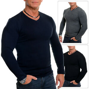 Men's V-Neck Classic Jumper Thin Stretchy Fabric Pullover Slim Fit Fitness Gym