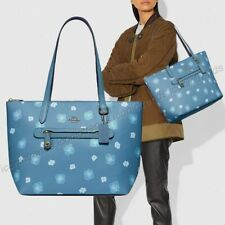 NWT 💎 Coach 89472 Chaise Pansy Print Leather Taylor Tote Pacific Blue Gold