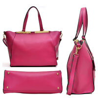 Women Crosshatch Leather Handbag Satchel Tote Shoulder Bag Purse w/ Wallet
