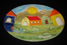 Palermo Colorful Italian Art Pottery Oval Serving Platter NINO PARRUCCA, 16""
