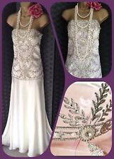 Ivory Cream Sue Wong bead evening gatsby Wedding Prom dress 8 36 2 New