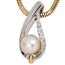 NEU Diamanten Anhänger Bicolor Perle echt Gold 585er Weißgold Kettenanhänger 14K