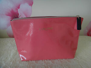 Lancome PINK Large Cosmetic Makeup Pouch Approx 11.5x7x2.8-Black pink zipper