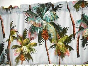Tropical Hawaiian Cotton Barkcloth Uphol. Fabric VALANCE ~Palm Trees -Blue-Gray~