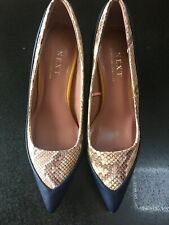 Next Ladies Comfort Fit Shoes Croc Skin Navy Heels Size 4