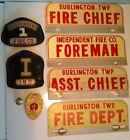 Vintage FIREMAN LOT Burlington Badge License Plates Helmet Insignia Emblems Pin