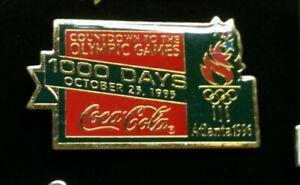 Atlanta Olympic Pin Coca-Cola Olympic Pin 1,000 Days Olympic Countdown Pin 1996