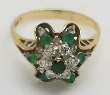 VINTAGE 14K YELLOW GOLD  0.8 CT DIAMOND  EMERALD DOME COCKTAIL RING SIZE 11