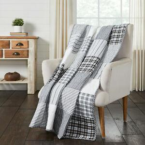 Sawyer Mill Black Block Patchwork Farmhouse Quilted Throw Blanket 50x60