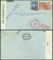 1942 WWII SAN SALVADOR, EL SALVADOR CDS to Boston, MA, CORREO AEREO, CENSOR TAPE