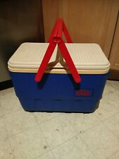 Vintage 90s IGLOO The Picnic Basket Cooler blue red white Handles Cooler Retro