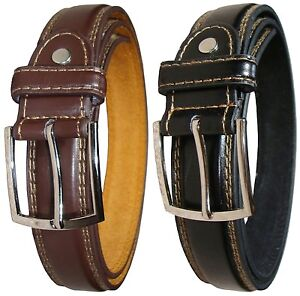"""New Mens Black or Brown Leather Trousers Belt Formal or Casual - Waist 32""""-48"""""""