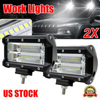 "2PCS 5""Inch 12V 672W LED Work Light Bar Flood Pods Driving Off-Road Tractor 4WD"