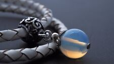 Opalite White Leather Bracelet Natural Crystal Gem Energy Meditate Ideal Gift