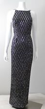 Stunning Vintage 80s SCALA Black Beaded & Sequin Wiggle Dress GOWN M/L