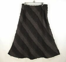 Tribal Bohemian Maxi Skirt Womans 14 Brown Fringed A-Line Lined Diagonal Stripe
