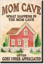 """MOM CAVE - WHAT HAPPENS IN THE MOM CAVE..  - METAL REFRIDGERATOR MAGNET 2x3"""" NEW"""