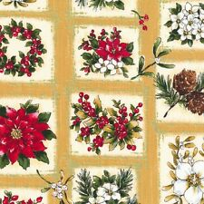 Fat Quarter Woodland Christmas Flowers Cotton Quilting Fabric