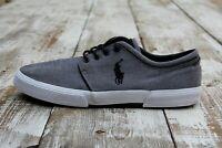 POLO RALPH LAUREN Faxon Low Men's Size 14 Gray Grey Black Chambray Casual Shoes