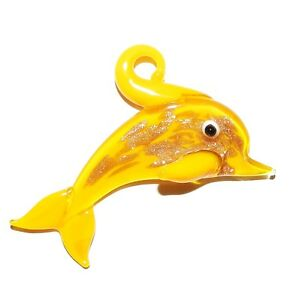P2035 Yellow & Gold-Bronze Sparkle 50mm Dolphin Lampwork Glass Necklace Pendant