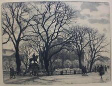 Emil Krause, etching. Square in Copenhagen, Royal Danish Theatre 1920s