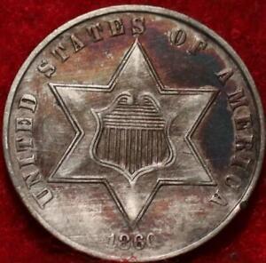1860 Philadelphia Mint Silver Three Cent Coin
