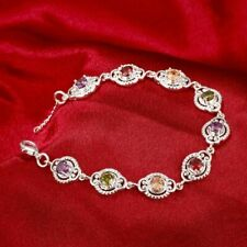 18k White Gold Plated Multi GEMSTONE Bracelet Topaz Amethyst Citrine Garnet