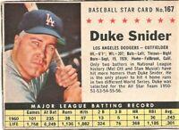 1961 Post Baseball Card #167 Duke Snider Los Angeles Dodgers