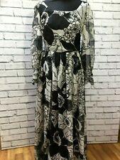 Vintage 80s Maxi Occasion Chiffon Margot Dress Floral Print UK 10