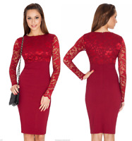 Goddess Wine Long Lace Sleeve Bengaline Fitted Cocktail Party Evening Dress