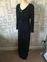 VINTAGE 70'S BLACK SEQUIN TRIM BOHO EVENING DISCO MAXI DRESS UK 8-10 SMALL