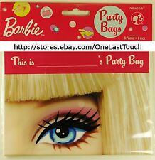 MATTEL BARBIE 8pc Party/Gift/Candy PLASTIC LOOT BAGS Pink FACE+EYE+KISS/LIP MARK