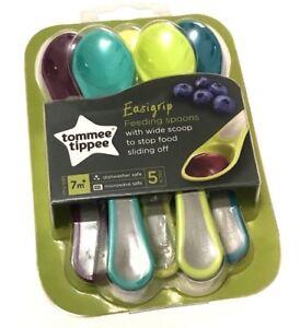 EASYGRIP NEW Tommee Tippee 7M+ Feeding Spoons Scoop 5 Pack BPA Free