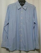Men's Facha Long Sleeve Blue Stripe Button Front Shirt Size M Medium 1093